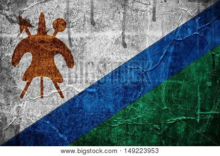Flag of Lesotho overlaid with grunge texture