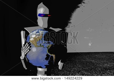 A robot out of control (3d cartoon rendering)