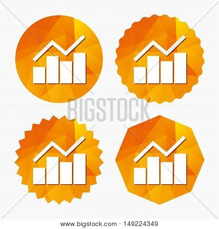 Graph chart sign icon. Diagram symbol. Statistics. Triangular low poly buttons with flat icon. Vector