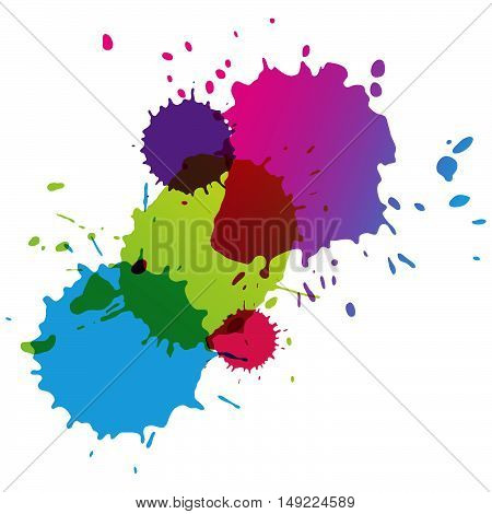 Set of colorful watercolor drops. Paint splatters. Place for text. Ink splashes. Abstract vector background.