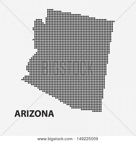 Dotted map of the State Arizona. The form with black points on light background. Vector illustration.