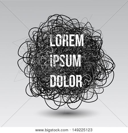 Vector scribble. Graphic abstract element. 3D design with space for your text.