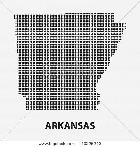 Dotted map of the State Arkansas. The form with black points on light background. Vector illustration.