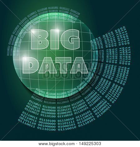 Vector abstract background and binary code and the words big data