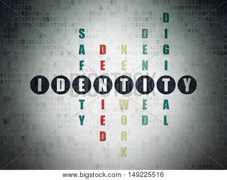 Protection concept: Painted black word Identity in solving Crossword Puzzle on Digital Data Paper background