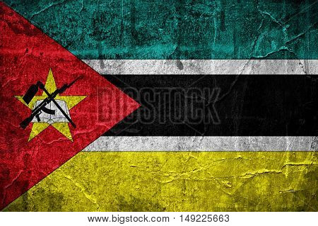 Flag of Mozambique overlaid with grunge texture