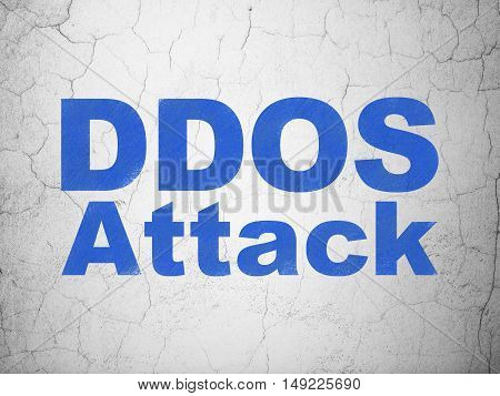 Protection concept: Blue DDOS Attack on textured concrete wall background