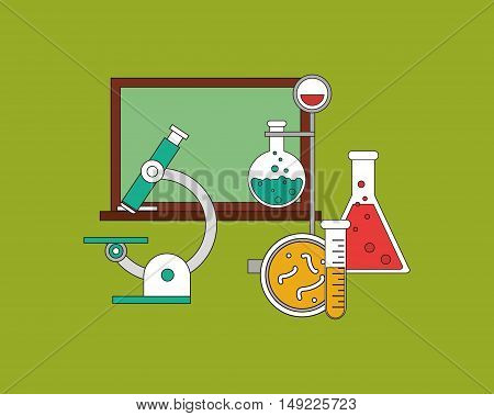 flat design chemistry flask or test tube science related icons image vector illustration