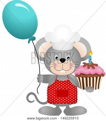 Scalable vectorial image representing a cook mouse with balloon and Birthday cake, isolated on white.
