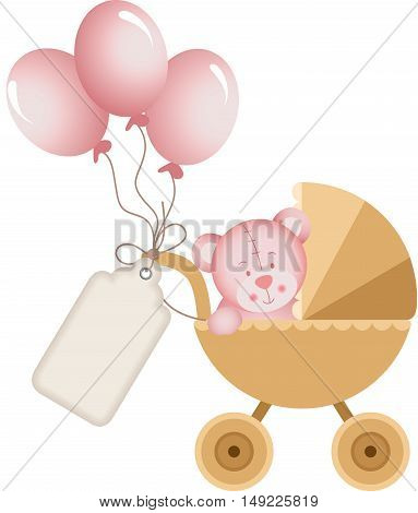 Scalable vectorial image representing a girl teddy bear in baby carriage with label tag, isolated on white.