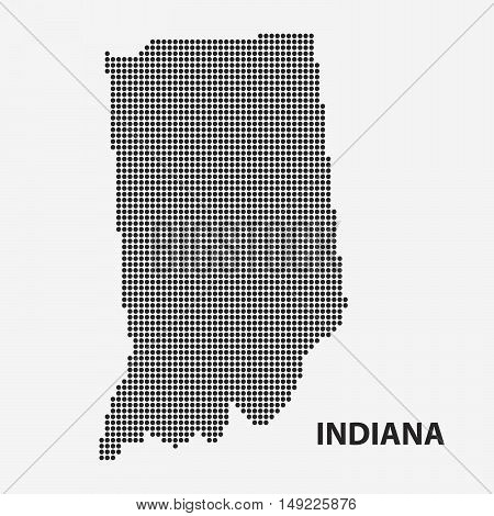 Dotted map of the State Indiana. The form with black points on light background. Vector illustration.