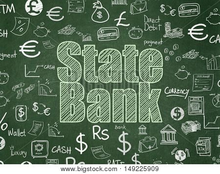 Banking concept: Chalk Green text State Bank on School board background with  Hand Drawn Finance Icons, School Board