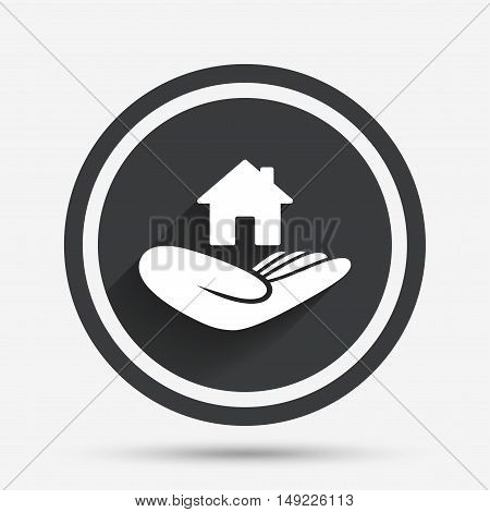 House insurance sign. Hand holds home symbol. Insurance of property. Circle flat button with shadow and border. Vector