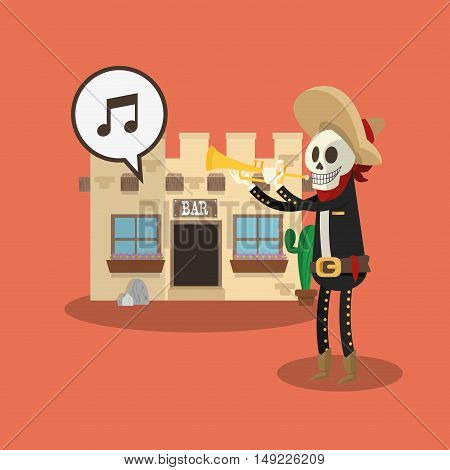 mariachi skeleton with mexican culture related icons image vector illustration