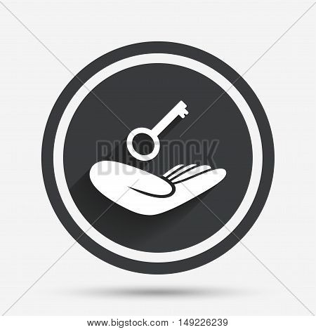 House insurance sign. Hand holds home key symbol. Insurance of property. Circle flat button with shadow and border. Vector