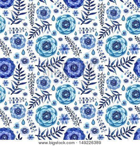 Watercolor Seamless Pattern with Cold Flowers Leaves and Rain Drops