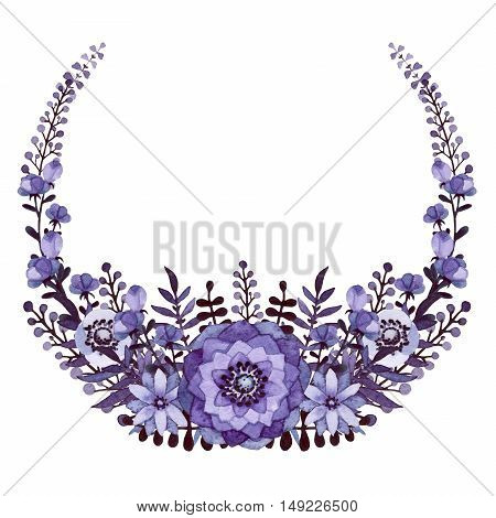 Wreath with Watercolor Dark Foliage and Deep Purple Flowers