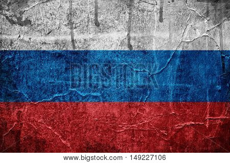 Flag of Russia overlaid with grunge texture