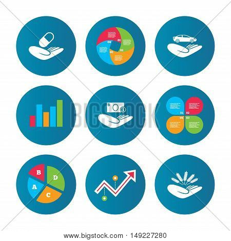 Business pie chart. Growth curve. Presentation buttons. Helping hands icons. Protection and insurance symbols. Save money, car and health medical insurance. Agriculture wheat sign. Data analysis