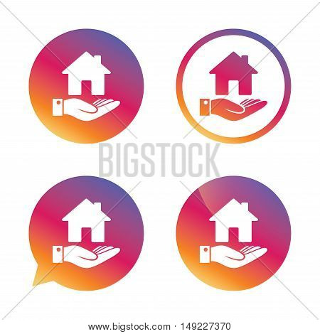 Home and hand sign icon. Palm holds house symbol. Gradient buttons with flat icon. Speech bubble sign. Vector