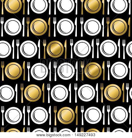 Gold Food Utensil Icons Seamless Pattern
