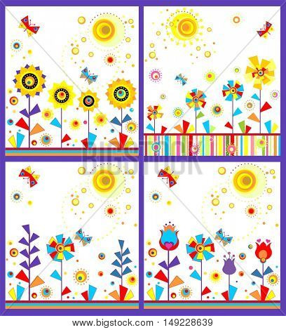 Collection with funny childish seamless applique with abstract paper flowers