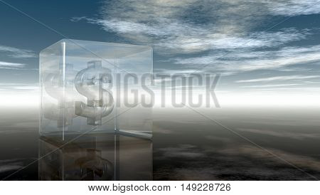 dollar symbol in glass cube under cloudy blue sky - 3d illustration