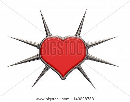 heart symbol with prickles - 3d rendering
