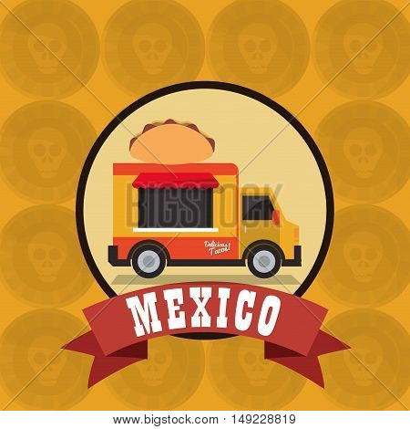 taco food truck with mexican culture emblem image vector illustration