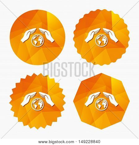 Worldwide insurance sign icon. Hands protect cover symbol. Travel insurance. World peace. Save planet. Triangular low poly buttons with flat icon. Vector