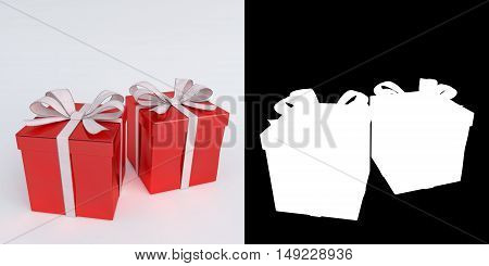 glossy green christmas gifts isolated on white with alpha mask - 3D render.