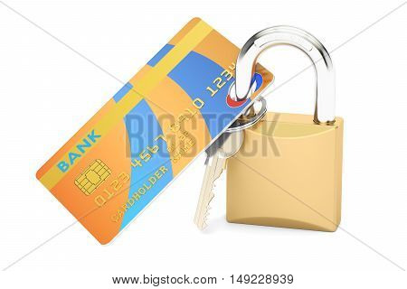 Credit Card Security and Safety concept 3D rendering