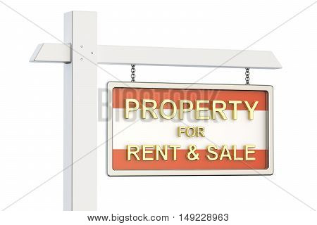 Property for sale and rent in Austria concept. Real Estate Sign 3D rendering isolated on white background