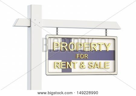 Property for sale and rent in Finland concept. Real Estate Sign 3D rendering isolated on white background