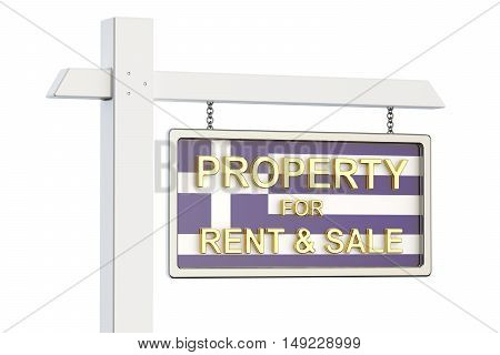 Property for sale and rent in Greece concept. Real Estate Sign 3D rendering isolated on white background