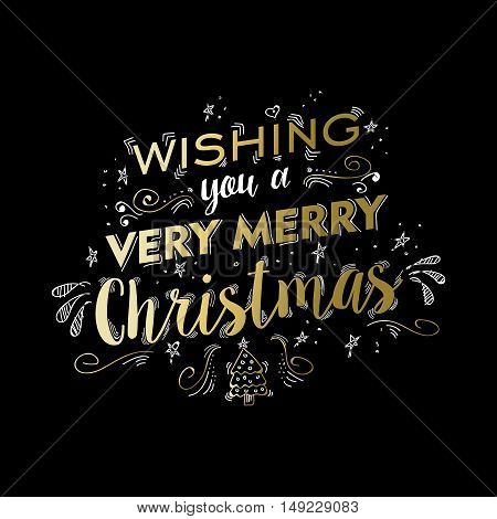 Merry Christmas Gold Doodle Lettering Design