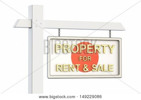 Property for sale and rent in Japan concept. Real Estate Sign 3D rendering isolated on white background