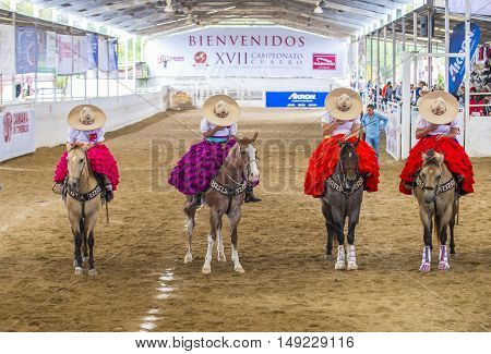 GUADALAJARA MEXICO - SEP 01 : Charras participate at the 23rd International Mariachi & Charros festival in Guadalajara Mexico on September 01 2016.