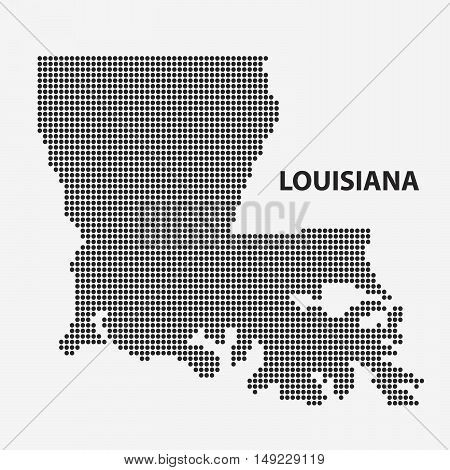 Dotted map of the State Louisiana. The form with black points on light background. Vector illustration.