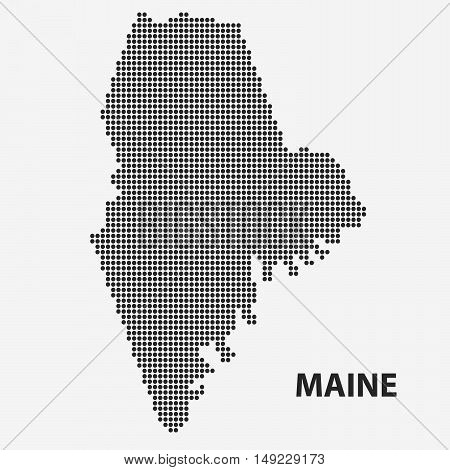 Dotted map of the State Maine. The form with black points on light background. Vector illustration.