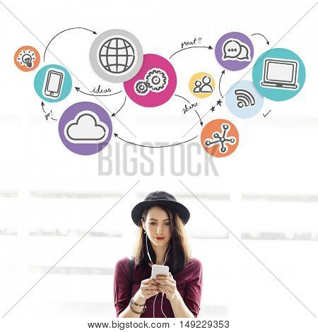Technology Connection Digital Global Communication Icon Concept