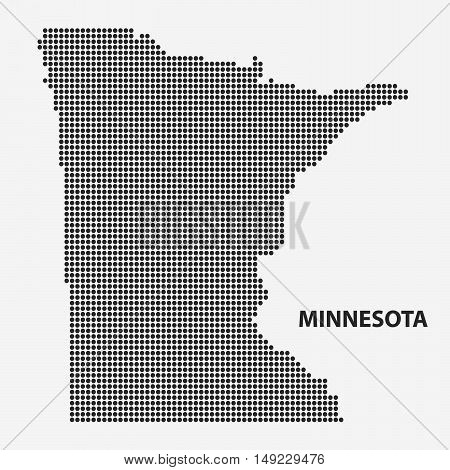 Dotted map of the State Minnesota. The form with black points on light background. Vector illustration.