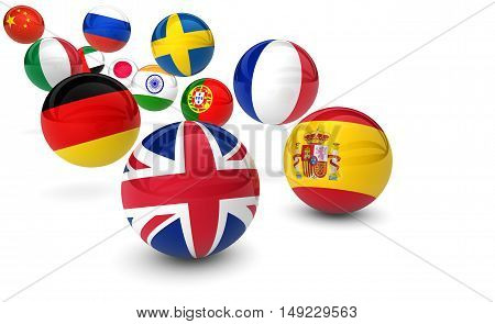 International language school business concept with flags on bouncing balls 3D illustration.
