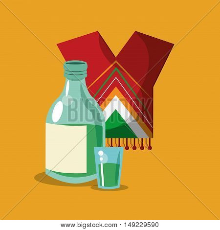 tequila bottle with shot mexican culture related icons image vector illustration