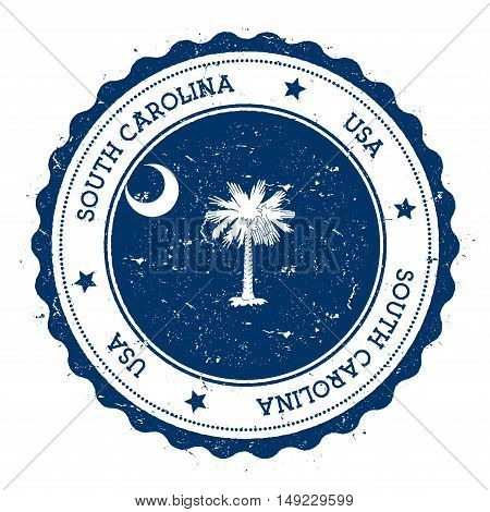 South Carolina Flag Badge. Grunge Rubber Stamp With South Carolina Flag. Vintage Travel Stamp With C