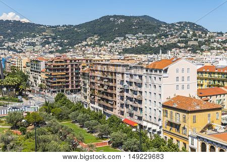 Bird-eye View Of Colorful Historical Houses In Nice City, France