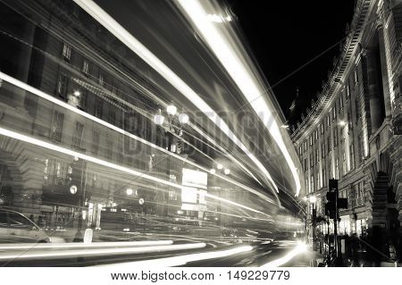 Lights of a city at night. Monochrome photography.
