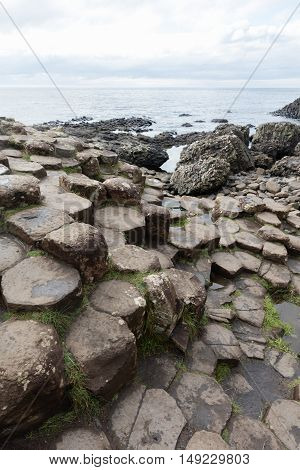 The Giant's Causeway is an area of about 40000 interlocking basalt columns the result of an ancient volcanic eruption.