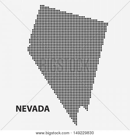 Dotted map of the State Nevada. The form with black points on light background. Vector illustration.