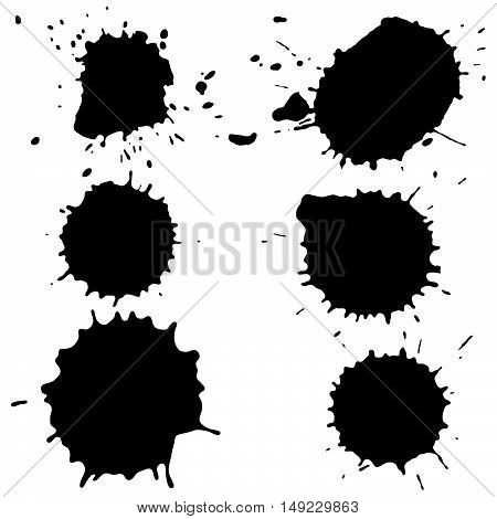 Set of vector isolated black paint. Collection of grunge brushes. Ink splashes.